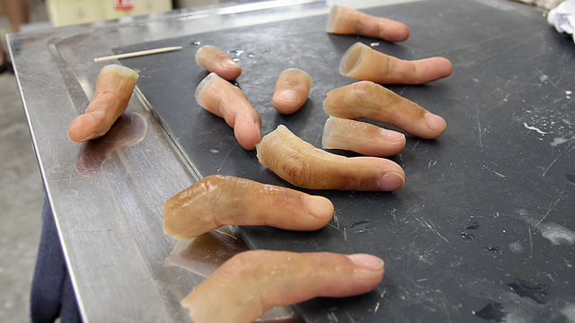 PHOTO: Prosthetics maker Shintaro Hayashi has found an increase in requests for prosthetic pinkies over the past decade.