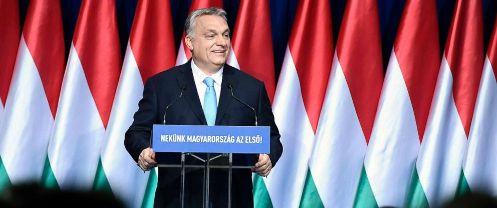 "PHOTO: Hungarian Prime Minister Viktor Orban delivers his annual ""State of Hungary"" speech in Budapest, Hungary, Feb. 10, 2019."