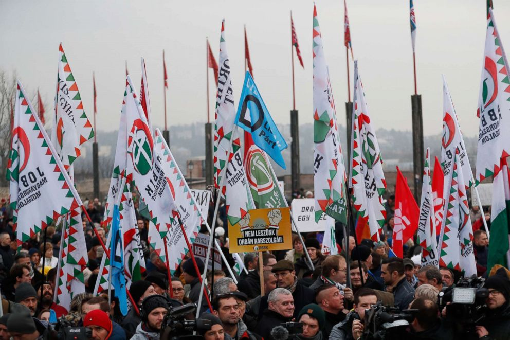 PHOTO: Demonstrators protest against recent legislative measures introduced by Hungarian Prime Minister, Viktor Orban on Feb. 10, 2019 in Budapest, Hungary.