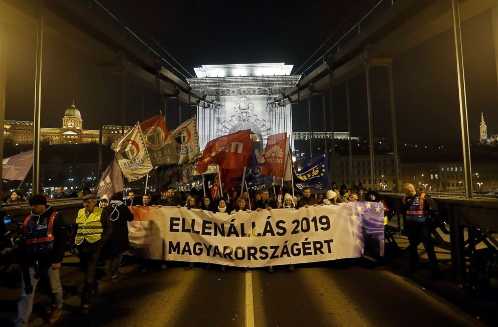 PHOTO: People protest after Hungarian Prime Minister Viktor Orban delivered his annual state of nation address on Feb. 10, 2019 in Budapest, Hungary.