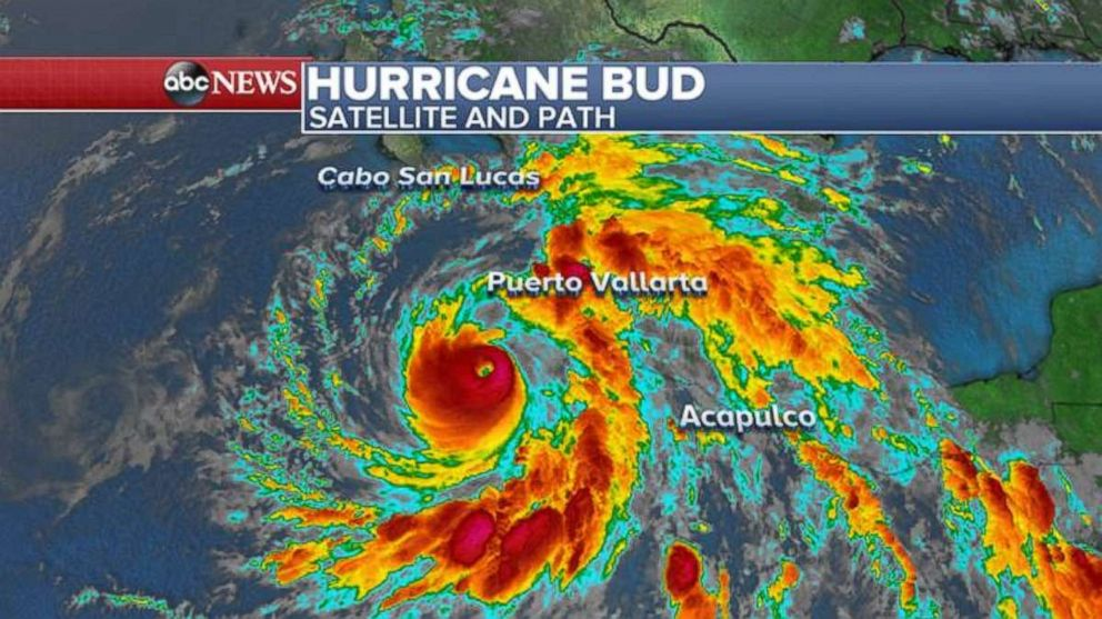 Hurricane Bud is churning in the Pacific, off the coast of Mexico, on Tuesday morning.