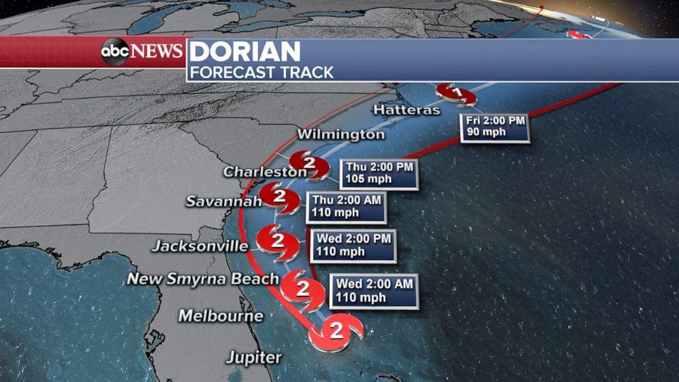 PHOTO: Hurricane Dorian forecast track map.