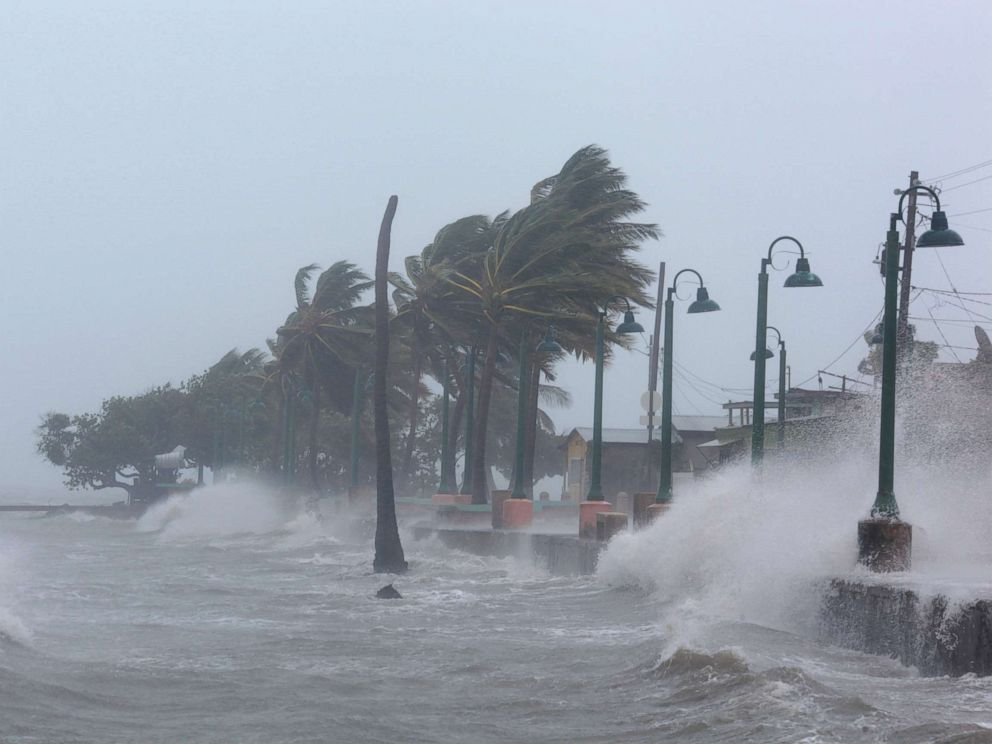 PHOTO: Waves crash against the seawall as Hurricane Irma slammed Fajardo, Puerto Rico, Sept. 6, 2017.