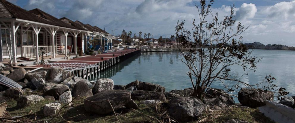 PHOTO: The Fort Louis Marina is seen in Marigot, Sept. 8, 2017 on St.Martin island, devastated by Hurricane Irma.