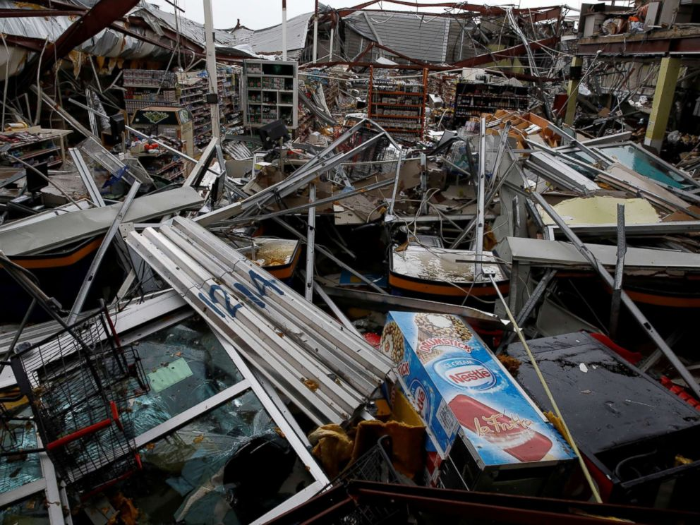 PHOTO: Damages are seen in a supermarket after the area was hit by Hurricane Maria in Guayama, Puerto Rico, Sept. 20, 2017.