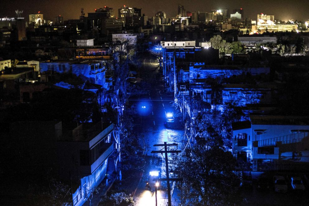 PHOTO: San Juan is seen during a blackout after Hurricane Maria made landfall, Sept. 20, 2017, in Puerto Rico.