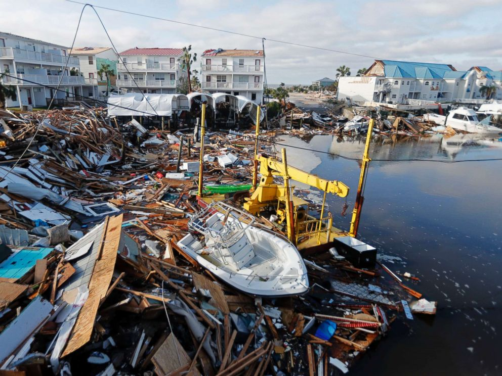 PHOTO: A boat sits amidst debris in the aftermath of Hurricane Michael in Mexico Beach, Fla., Oct. 11, 2018.