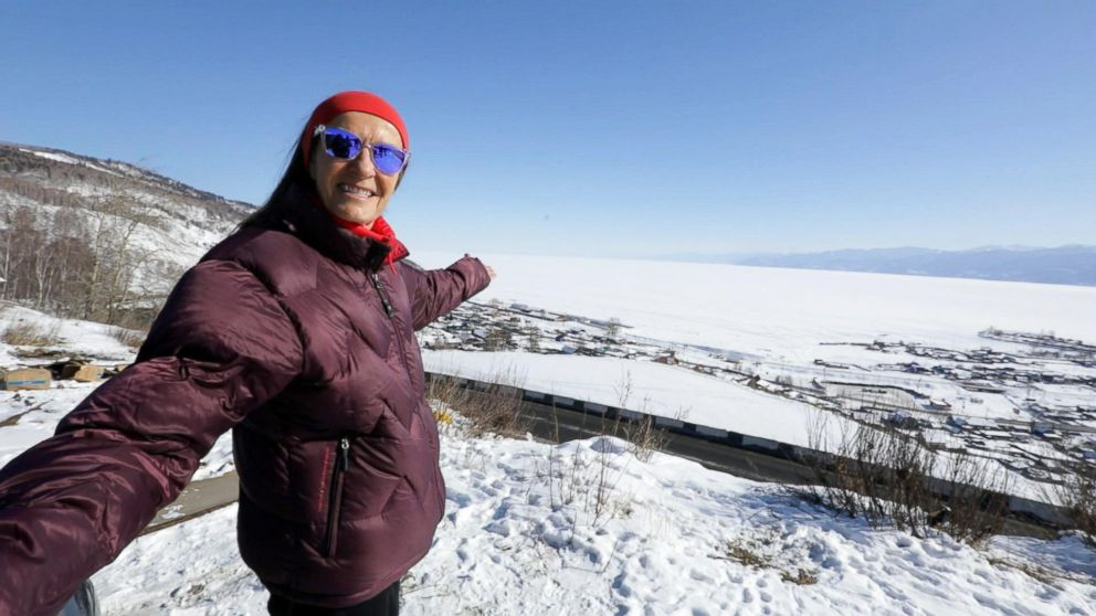 Alicja Barahona smiles for the camera as she prepares to run the Baikal Ice Marathon in Siberia.