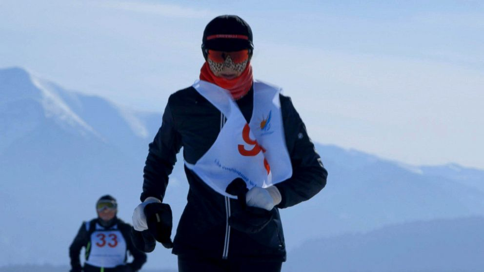 Alicja Barahona runs the Baikal Ice Marathon on Lake Baikal, the deepest lake in the world.