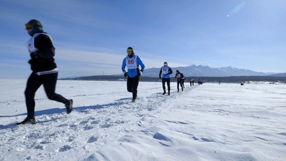 PHOTO: Runners taking part in the Baikal Ice Marathon in Siberia.