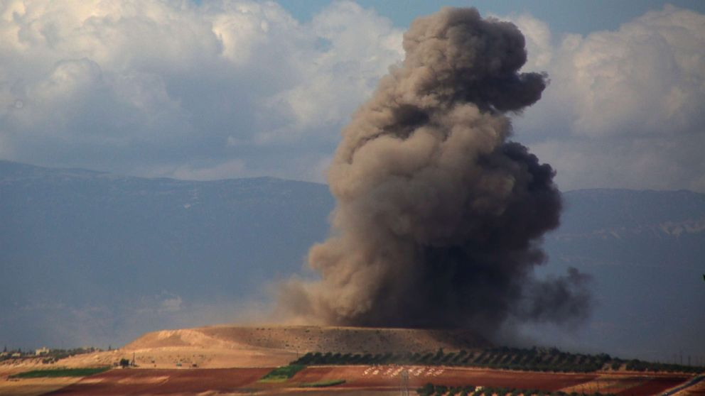 Smoke rises near the Syrian village of Kafr Ain in the southern countryside of Idlib province after an airstrike, Sept. 7, 2018.