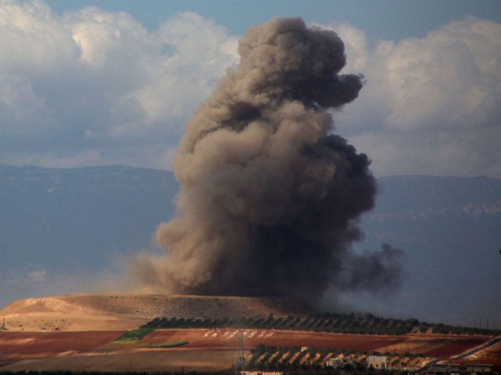 PHOTO: Smoke rises near the Syrian village of Kafr Ain in the southern countryside of Idlib province after an airstrike, Sept. 7, 2018.