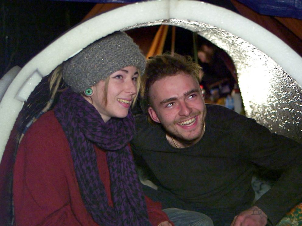 PHOTO: Oceane and her boyfriend Benjamin were given an igloo two weeks ago and are having much better nights since they sleep inside the experimental shelter.