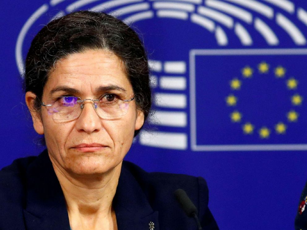 PHOTO: Ilham Ahmed, co-chair of the Syrian Democratic Council (SDC), addresses a news conference at the European Parliament in Brussels, Oct. 10, 2019.