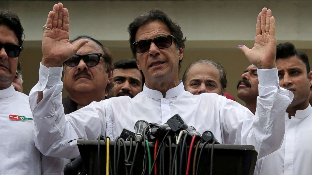 Imran Khan, chairman of Pakistan Tehreek-e-Insaf (PTI), speaks after voting in the general election in Islamabad, July 25, 2018.