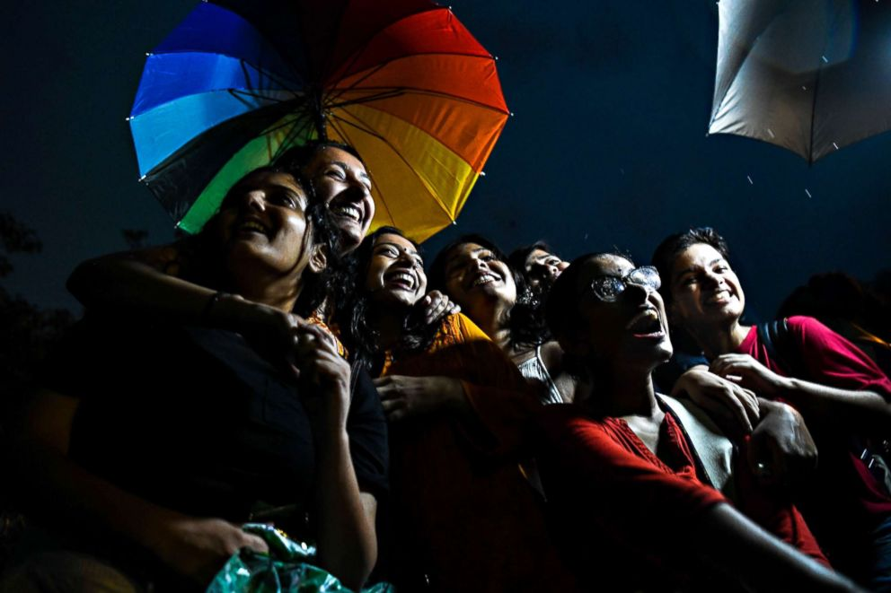 PHOTO: People in New Delhi celebrate Indias Supreme Court decision striking down a colonial-era ban on gay sex in Mumbai on Sept. 6, 2018.
