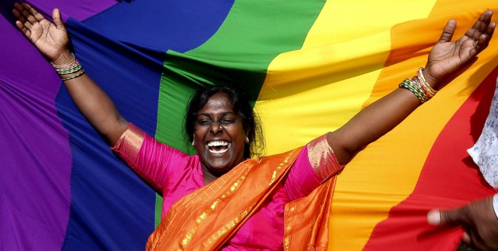 PHOTO: People in Bangalore, India celebrate after hearing the Supreme Court verdict legalizing gay sex between consenting adults on Sept. 6, 2018.
