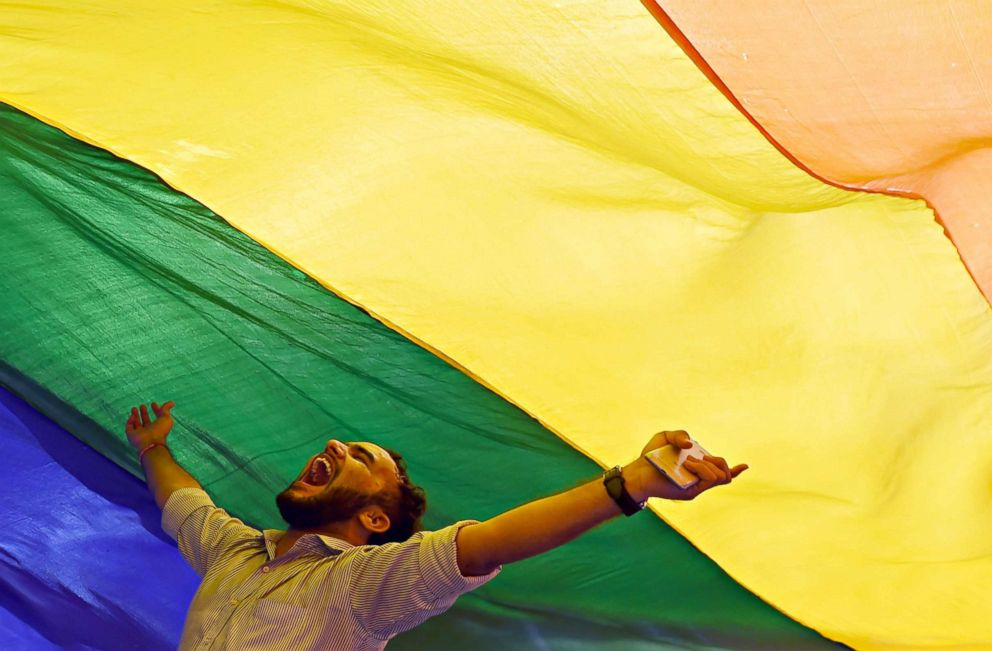 PHOTO: A member of the lesbian, gay, bisexual, transgender (LGBT) community celebrates Indias Supreme Court decision to strike down a colonial-era ban on gay sex, in Mumbai on Sept. 6, 2018.
