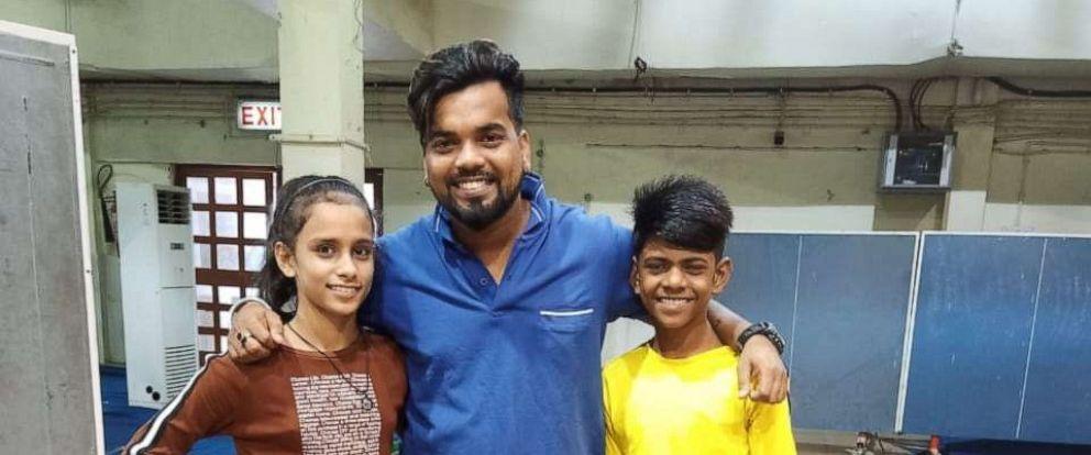 PHOTO: Jashika Khan,11 and Mohammad Azajuddin,12 along with their dance coach, Shekhar Rao.