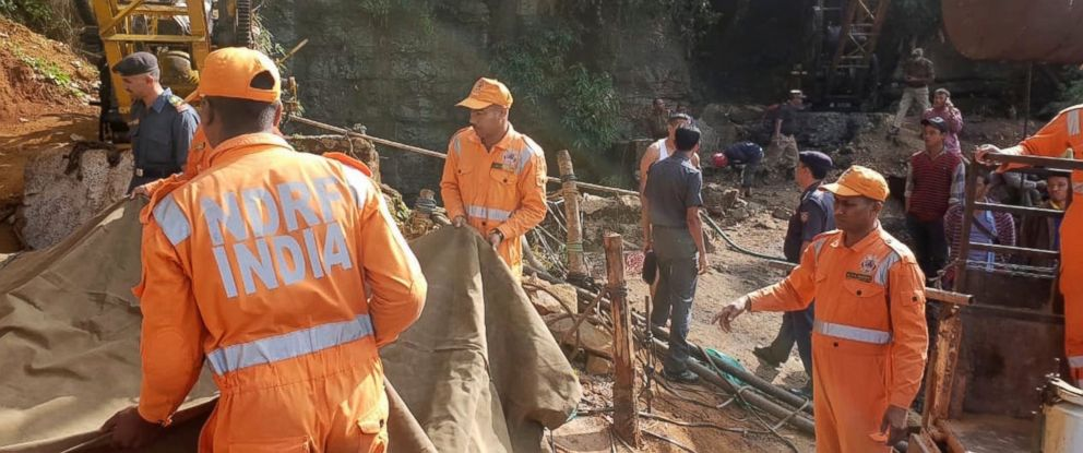 PHOTO: Rescuers work at the site of a coal mine that collapsed in Ksan, in the northeastern Indian state of Meghalaya, Friday, Dec. 14, 2018.