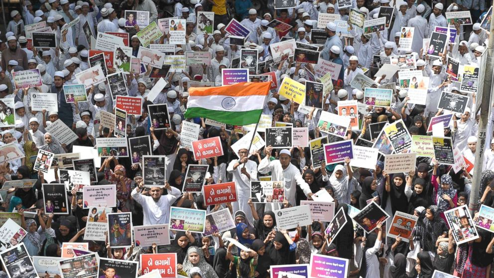 Indian students in Ahmedabad, India protest in support of rape victims in Jammu and Uttar Pradesh, April 15, 2018.