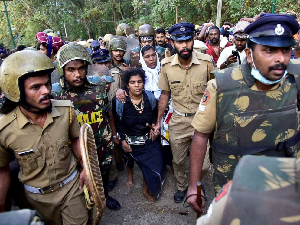 PHOTO: Bindu Ammini, and Kanaka Durga, are escorted by police in Kerala, India, Dec. 24, 2018.