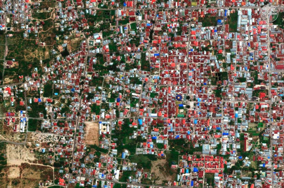 PHOTO: A satellite image taken Aug. 17, 2018 shows the Balaroa neighborhood of Palu, Indonesia.