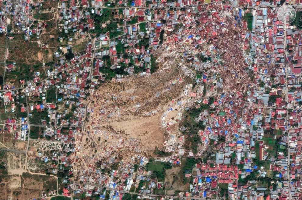 PHOTO: A satellite image provided on Oct. 1, 2018 shows the Balaroa neighborhood of Palu, Indonesia, after an earthquake and subsequent tsunami caused heavy damage to the area.