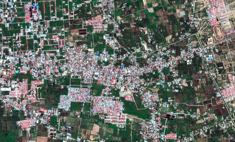 PHOTO: A satellite image taken Aug. 17, 2018 shows the Petobo neighborhood in Palu, Indonesia.