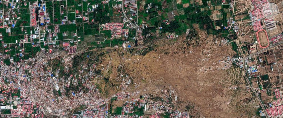 PHOTO: A satellite image provided on Oct. 1, 2018 shows the the Petobo neighborhood in Palu, Indonesia, after an earthquake and subsequent tsunami caused substantial damage and liquefaction in the village.