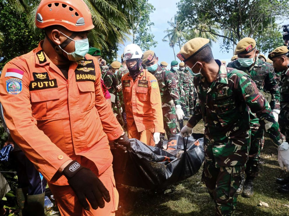 PHOTO: Rescue workers recover the body of a victim of the tsunami during a search at a resort hotel on in Tanjung Lesung, Indonesia, Dec. 24, 2018.
