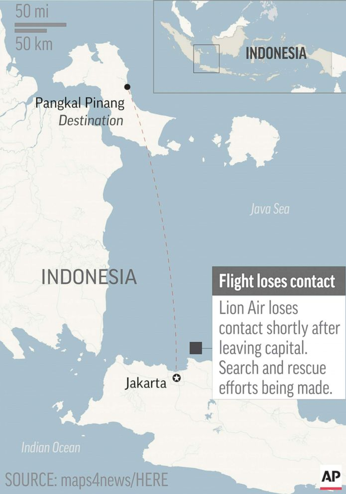 PHOTO: Indonesia passenger jet with 189 aboard crashes into ocean shortly after takeoff, Oct. 29, 2018.