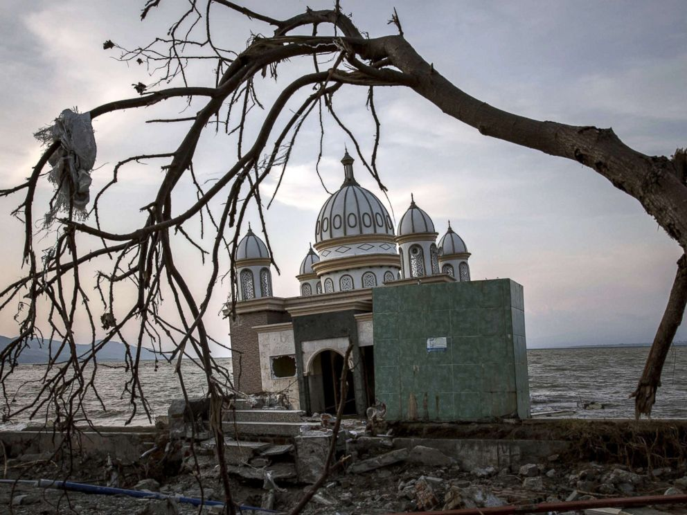 PHOTO: A damaged mosque is seen after the earthquake and tsunami, Oct. 03, 2018 in Palu, Indonesia.