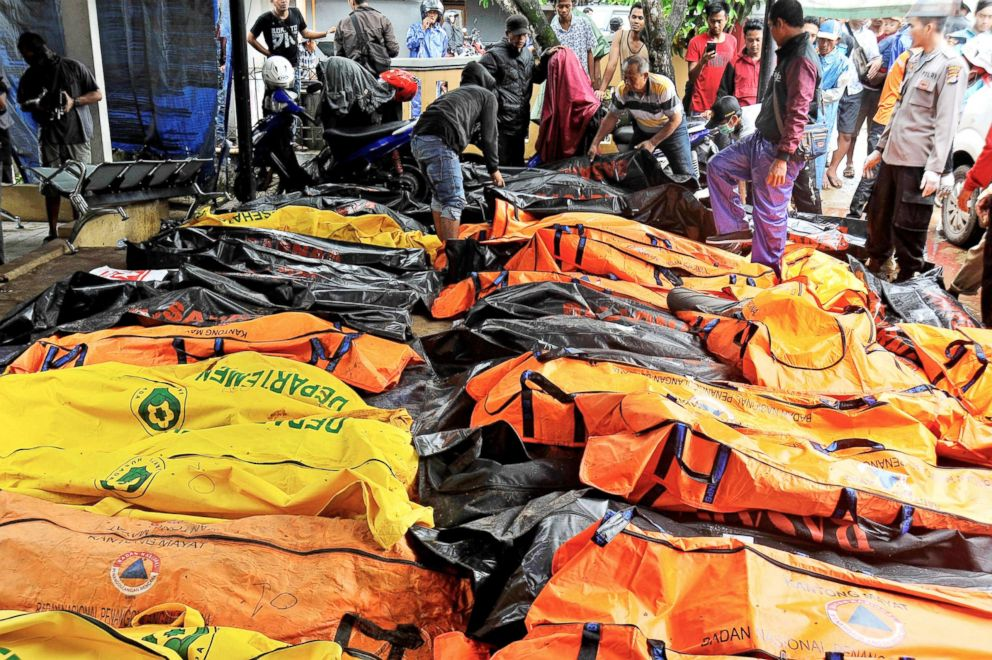 PHOTO: Bodies of tsunami victims are collected at a local health facility after a tsunami hit Carita in Pandeglang, Banten province, Indonesia, Dec. 23, 2018.