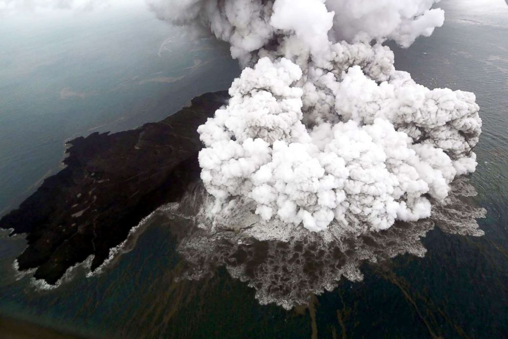 PHOTO: An aerial view is captured of Anak Krakatau volcano during an eruption at Sunda strait in South Lampung, Indonesia, in this photo taken by Antara Foto, Dec. 23, 2018.