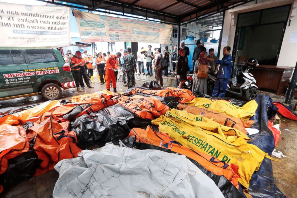 PHOTO: The bodies of tsunami victims are collected at a health facility after a tsunami hit the Sunda Strait in Pandeglang, Banten, Indonesia, Dec. 23, 2018.