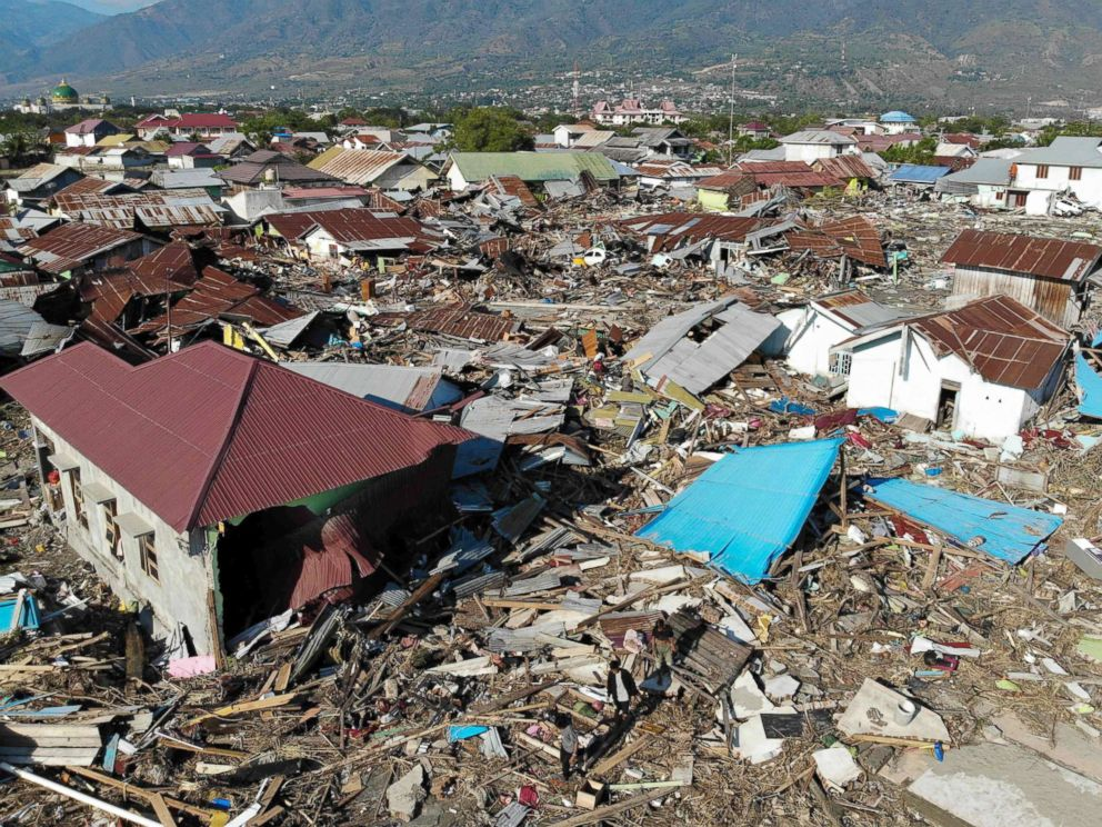 PHOTO: An aerial view shows the earthquake and tsunami devastated neighborhood in Palu, Sulawesi, Indonesia, Oct. 1, 2018.