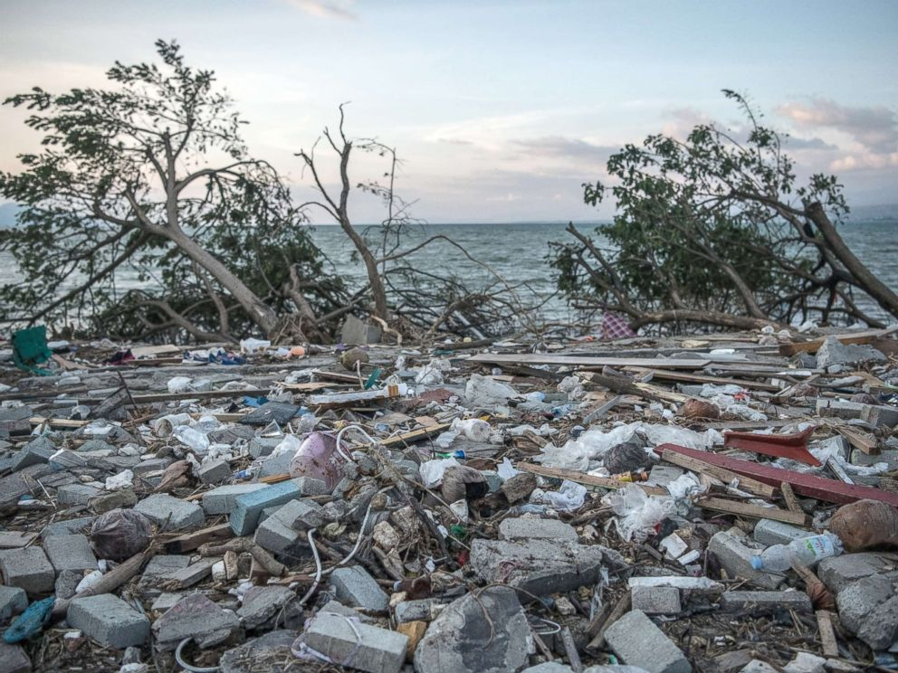 PHOTO: Debris and uprooted trees lie on the beach following a tsunami, Oct. 1, 2018, in Palu, Indonesia.