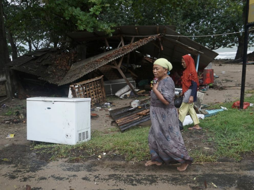 PHOTO: A house is seen damaged by a tsunami, in Carita, Indonesia, Sunday, Dec. 23, 2018.