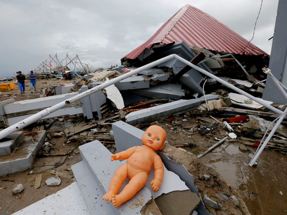 PHOTO: A doll lays outside a damaged house following the tsunami in Sumur, Indonesia, Tuesday, Dec. 25, 2018.