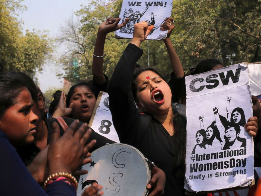 PHOTO: Indian women shout slogans and take part in a protest against rape during International Womens Day in New Delhi, India, March 8, 2018.