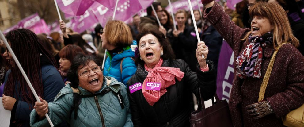 PHOTO: Women shout slogans during a protest by Spanish main unions marking the International Womens Day in Madrid, March 8, 2018.