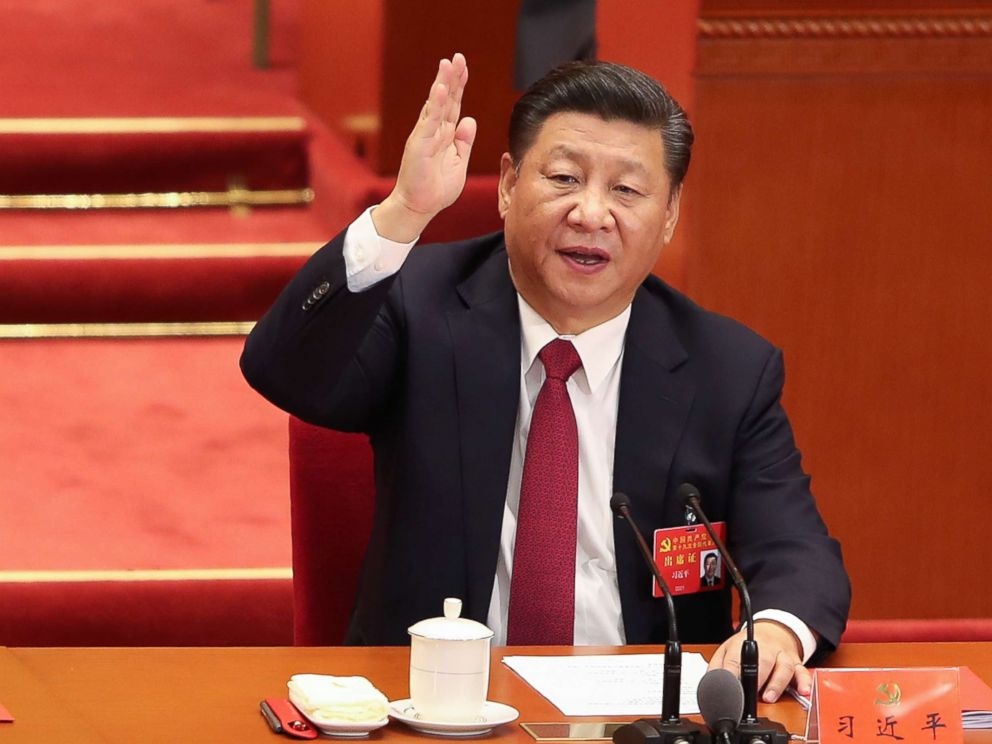 PHOTO: Chinese President Xi Jinping votes at the closing of the 19th Communist Party Congress at the Great Hall of the People on October 24, 2017 in Beijing, China.