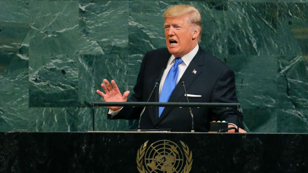 President Donald Trump addresses the 72nd United Nations General Assembly at U.N. headquarters in New York, Sept. 19, 2017.