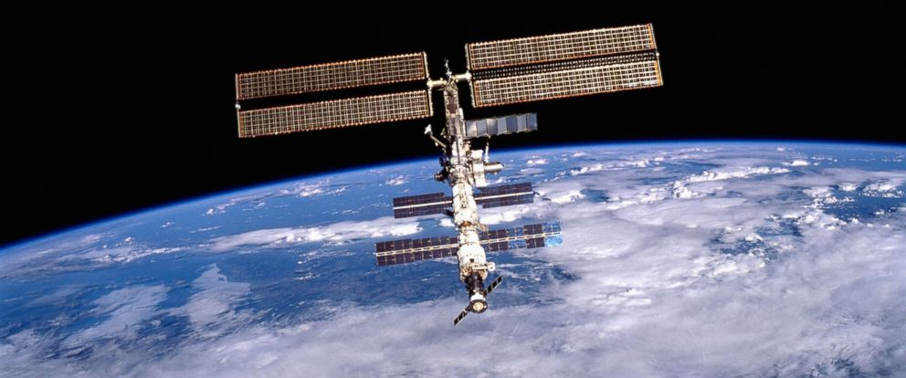 PHOTO: In this file photo shows the International Space Station (ISS) was photographed by one of the crewmembers of the STS-105 mission from the Shuttle Orbiter Discovery after separating from the ISS, Aug. 20, 2001.