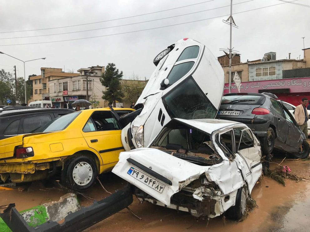 PHOTO: An image made available by Irans Mehr News agency, March 25, 2019, shows cars pilling up in a street in the southern city of Shiraz.