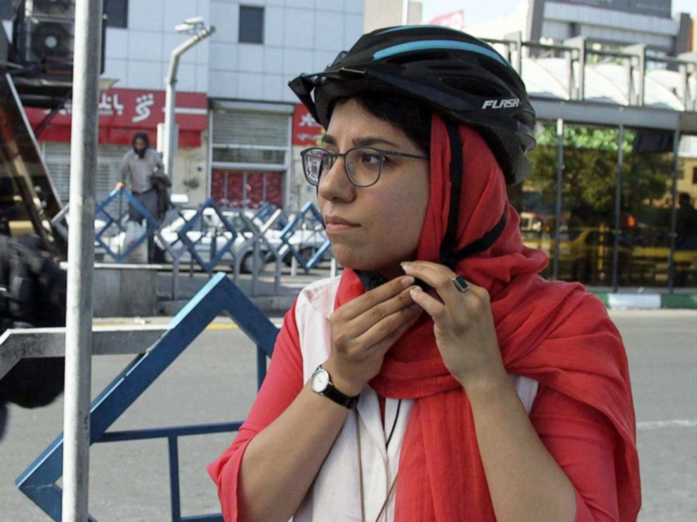 PHOTO: Agita Mohammadzadeh, 30, rides a bike from the first private bikeshare company to rent bicycles to both men and women in Tehran, Iran.