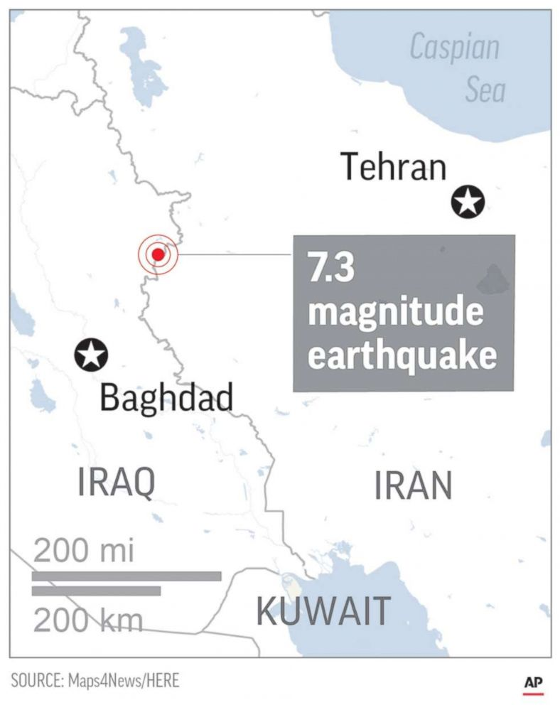 PHOTO: A map shows the epicenter of the Nov. 12, 2017 earthquake that struck Iran and Iraq.