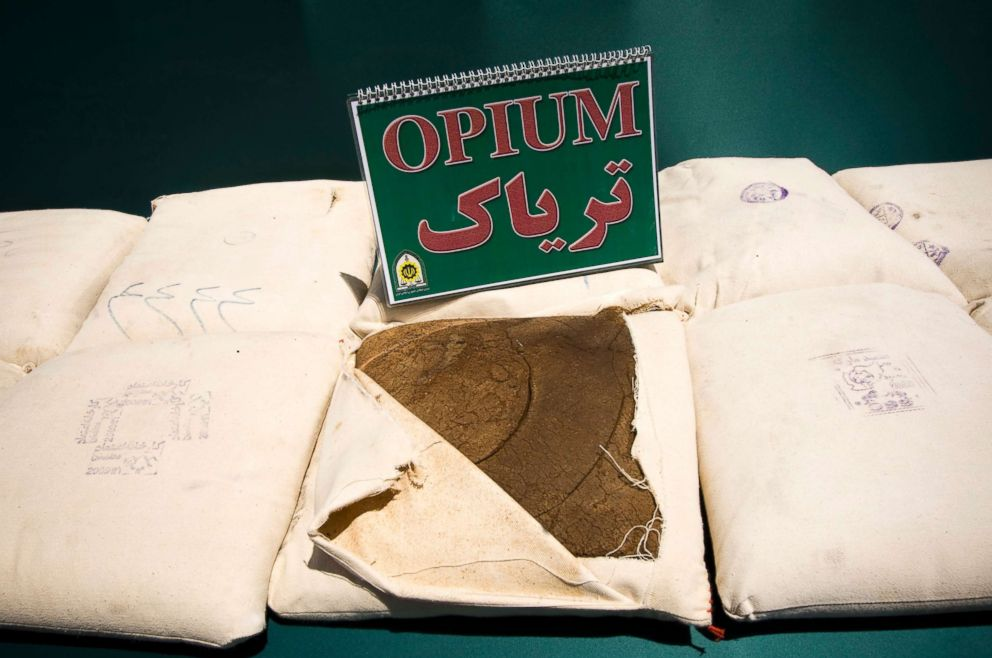 PHOTO: Confiscated opium is seen on display during a ceremony concluding anti-narcotics manoeuvres in Zahedan, 1,003 miles southeast of Tehran, May 20, 2009.