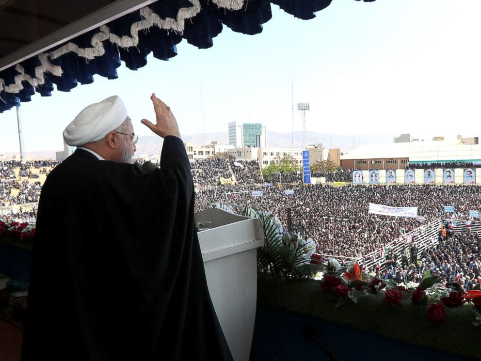 PHOTO: Iranian president Hassan Rouhani addresses the crowd during a rally in Tabriz, Iran on April 24, 2018.